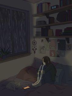 Wallpaper Animes, Anime Wallpaper Live, Anime Scenery Wallpaper, Sky Aesthetic, Aesthetic Anime, Anim Gif, Arte Peculiar, Animated Love Images, Sad Art