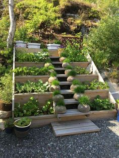 Use premade stair riser and boards for side yard. Infill steps w gravel?