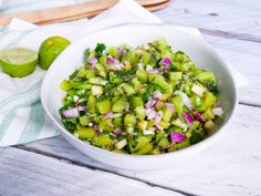 This salsa is tangy, spicy, light and refreshing. Serve with corn chips, toasted pita crisps, on top of a salad or paired with grilled fish or chicken. Healthy Cook Books, Coriander Leaves, Potato Salad, Spicy, Salads, Pork, Stuffed Peppers, Meals, Salad