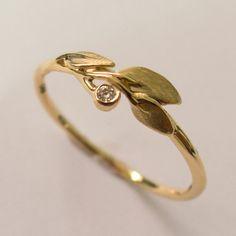 Blätterring, Verlobungsring, Ring aus 14-karätigem Gold, Gelbgold, Filigran, Handwerklicher Ring, Blätter-Diamantenring