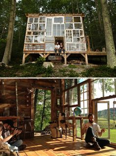 ,As with all other kinds of design work, creating good house designs is no easy task. Fortunately, we won't be running out of new, impressive architect. Tree House Designs, Recycled Glass, Recycled Windows, Reclaimed Windows, Recycled House, Good House, Style At Home, My Dream Home, Future House
