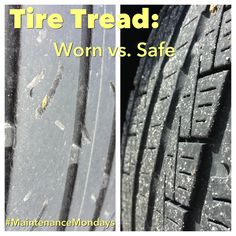 The proper tread helps you maintain your grip on the road. Some tires have indicators or wear bars (seen on the left) to help gauge wear. For an easy DIY check, use the #penny test! Remember, it is important to look for signs of uneven wear too. #CarCare