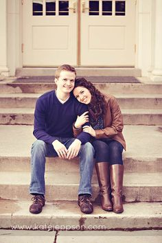 Engagement Poses - On the steps of the church you are getting married at