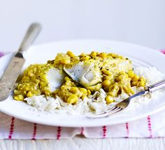 Everyone will love this creamy fish curry, cooled down with coconut and sweetcorn. It's budget-friendly too Uk Recipes, Bbc Good Food Recipes, Fish Recipes, Dinner Recipes, Cooking Recipes, Healthy Recipes, Budget Recipes, Healthy Dinners, Recipies