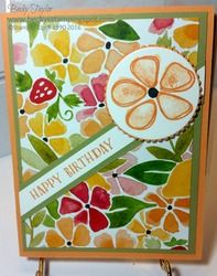 Fruit_stand_birthday, Stampin' Up!, Fruit Stand DSP, floral birthday card