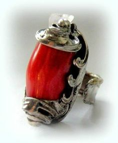 http://megasilver.pl/Pierscionek-p176 #ring #metalwork #coral, #handmade #red #stone #jewelry #jewellery