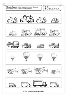 Werkblad: vervoer verkeer gecijferdheid meten Kindergarten Math Worksheets, Preschool Math, Worksheets For Kids, Transportation Worksheet, Transportation Theme, Toddler Learning Activities, Montessori Activities, Community Helpers Worksheets, Kids Education