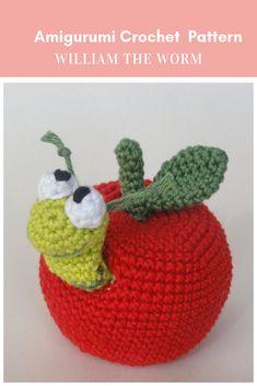Amigurumi apple with worm. (Amigurumi crochet pattern available to purchase). Crochet Food, Crochet Patterns Amigurumi, Cute Crochet, Amigurumi Doll, Crochet Dolls, Knitting Patterns, Crochet Apple, Crochet Motifs, Stuffed Toys Patterns