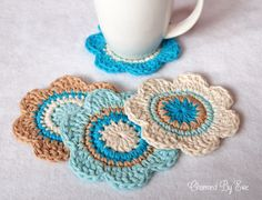crochet cotton coasters - free pattern
