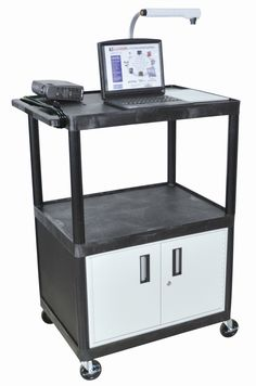LP Carts Series AV Cart with Locking Cabinet/Electric
