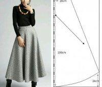 Molde de falda larga corte clásico