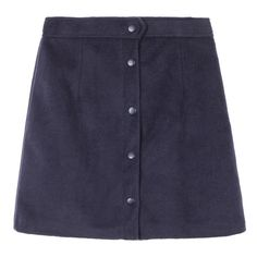 Snap-Front A-Line Mini Skirt (1,840 PHP) ❤ liked on Polyvore featuring skirts, mini skirts, bottoms, a-line skirt, button front skirt, button front mini skirt, short blue skirt and short skirts