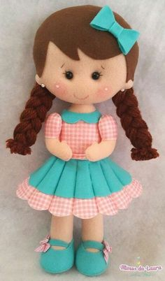 Girl w/Braids & Bow in Hair Felt Doll Patterns, Stuffed Toys Patterns, Doll Crafts, Diy Doll, Fabric Dolls, Paper Dolls, Felt Baby, Sewing Dolls, Soft Dolls