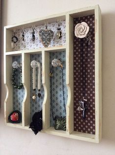 Shabby chic cutlery drawer jewellery by PrettyRandomCrafts on Etsy