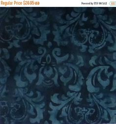 "BLACK FRIDAY SALE Cotton Fabric, Quilt, Quilt Back - 108"" Wide~Java, Fresh Water Designs, Navy,Fast Shipping, Qb103"