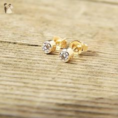 White Sapphire Stud Earrings- in Sterling Silver, or 14k White, Yellow or Rose Gold - Wedding earings (*Amazon Partner-Link)