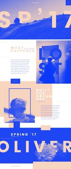 Oliver Clothing Spring 17 Web Design by Tom Rich Layout Design, Graphisches Design, Web Design Tips, Web Layout, Page Design, Web Design Color, Design Strategy, Design Ideas, Website Design Inspiration