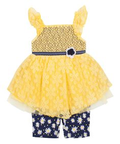 Look at this Yellow Lace Tank & Blue Floral Shorts - Infant on #zulily today!