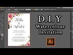 DIY Watercolour Flower Invitation tutorial | How to make professional invitations using Illustrator - YouTube