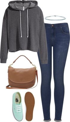 featuring vans shoes H&M hooded sweatshirt, / Topshop blue jeans / Vans shoes Pretty Outfits, Fall Outfits, Summer Outfits, Casual Outfits, Cute Outfits, School Outfits, Jeans And Vans, Blue Jeans, Vans Outfit
