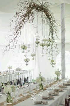 Wooden branch wedding arch to hang flowers or lights off above tables, rustic country decorative idea.