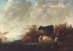 Albert Cuyp - Vee in rust bij een rivier, veedrijvers verderop