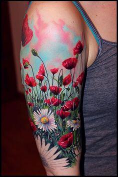 nice Body - Tattoo's - Tattoo-Foto: Mohnblumen...
