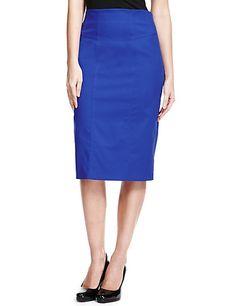 M&S Cotton rich panel pencil skirt
