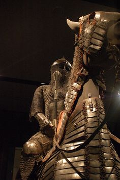 Medieval horse armour on display at the Museum of Islamic Art in Qatar.