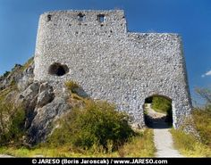 Summer view of massive fortification ruins of Castle of Cachtice situated in the mountains above the Cachtice village in the west of Slovakia in Trencin region. The Castle of Cachtice was residence and later the prison of the world famous Elizabeth Batory. This castle ruin is definitely worth a visit.