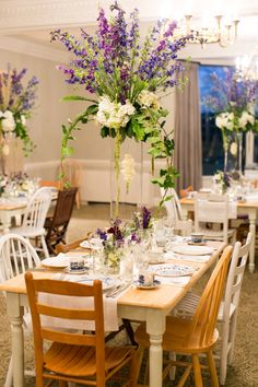 Grove Park Inn reception with farm tables & mismatched chairs by Old South Vintage Rentals | image by Sunday Grant Photography