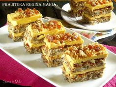Prajitura-Regina-Maria-5-1 Romanian Desserts, Romanian Food, Layered Desserts, Small Desserts, Coffee Dessert, Dessert Bars, Special Recipes, Unique Recipes, Coffee And Walnut Cake
