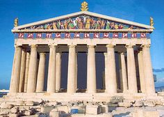 Reconstruction of the colourful pediment of the Parthenon on the Acropolis, rebuilt by Perikles in Century BC after it was burnt down by the invading Persians during the Persian Wars of Ancient Greek Art, Ancient Rome, Ancient Greece, Ancient History, Architecture Antique, Roman Architecture, Athens Acropolis, Athens Greece, Parthenon Greece