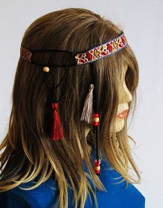 Boho Headband Bohemian tassel headband hippie headband by selenayy