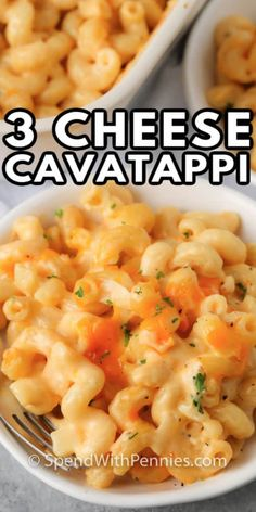 3 Cheese Cavatappi is a cheesy, creamy pasta dish that is comforting and satisfying! It's a perfect option for a quick, weekday meal! #spendwithpennies #cheesecavatappi #recipe #pasta #maindish #baked Best Pasta Recipes, Veggie Recipes, Easy Dinner Recipes, Easy Meals, Cooking Recipes, Cheese Recipes, Vegetarian Cooking, Veggie Food, Easy Recipes