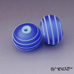 Blue Spiral Line Handmade Lampwork by HeatherBehrendtGlass on Etsy, $12.99