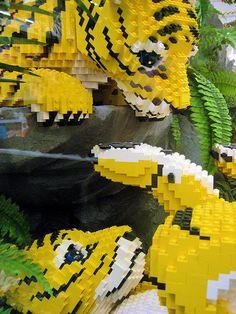 Lego Tigers by Stéfan Lego Design, Legos, Lego Zoo, Modele Lego, Lego Custom Minifigures, Big Lego, Lego Sculptures, Amazing Lego Creations, Lego Pictures