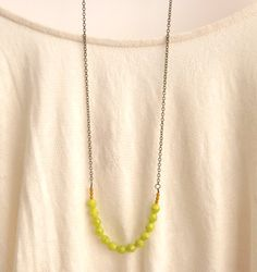 Mustard Yellow Necklace // Green Strand Bead by peachtreelane, $25.00