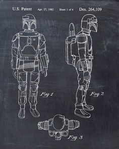 Star Wars Boba Fett Patent Print Patent Art Poster by VisualDesign