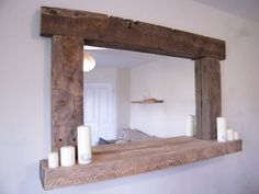 Large Reclaimed and Driftwood Mirror With Shelf in 6 Sizes 70x40cm to 155x100cm in Home, Furniture & DIY, Home Decor, Mirrors | eBay!