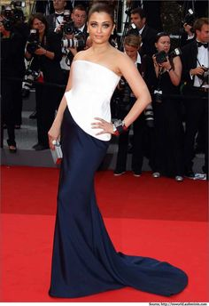 Aishwarya Rai in Armani Prive structured strapless white & blue evening gown at the Cannes red carpet.