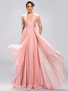 Classy Half Sleeves A Line Floor-Length Evening Dress - Cute Dresses Bridal Dresses Online, Evening Dresses Online, Cheap Evening Dresses, Cheap Prom Dresses, Cute Dresses, A Line Prom Dresses, Beautiful Prom Dresses, Ball Dresses, Ball Gowns