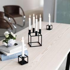 Kubus black candle holder, By Lassen