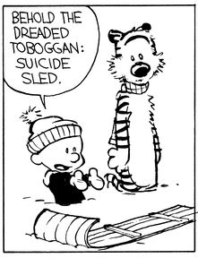 Calvin and Hobbes (DA) - Behold the dreaded toboggan: suicide sled.