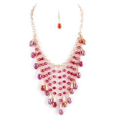 """Stunning statement faceted bead fringe necklace and earring set finished with yellow gold plating. Approx. 18"""" length Lobster claw clasp with 3"""" extender Lead/Nickel compliant Earrings Drop Approx. 1."""