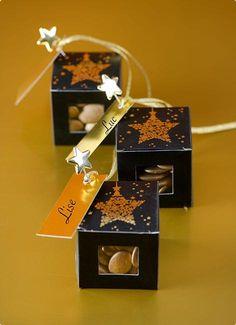 """Kleine Geschenk-Boxen """"Funkelnde Schneekristalle"""" 4er Pack #Weihnachtsfeier #Mitgebsel #Wichtelgeschenk"""