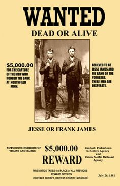 Frank & Jesse Wanted Poster