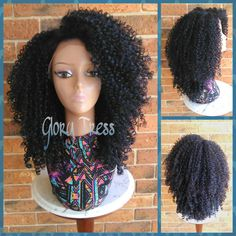 ON SALE //Long Kinky Curly Lace Front Wig, Big Curly Afro Wig, 100% Human Hair Blend, Black and Blue Wig // UNDERSTAND (Free Shipping)