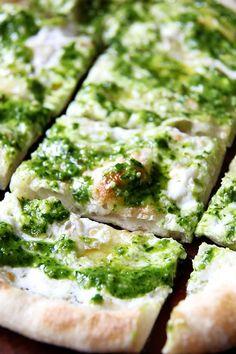 ramp green pesto and burrata pizza.