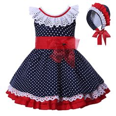 Pettigirl Vestidos Para as meninas Do Bebê Roupas de verão azul Marinho Pontos Com Headwear Crianças Princess Dress Loja Online Frocks For Girls, Kids Frocks, Little Dresses, Little Girl Dresses, Girls Dresses, Baby Dresses, 50s Dresses, Elegant Dresses, Fashion Kids
